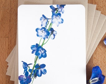 Personalized Note Card Set -  Stationery Set - Blue Delphinium - Gift for Her