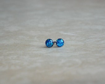 ON SALE Teeny Tiny Sapphire Glitter Earring Studs Small Post Earrings
