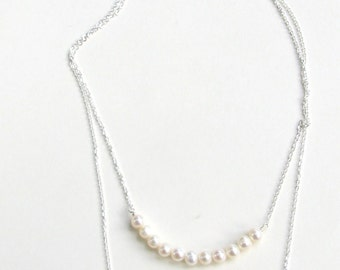 Genuine Pearl, Double Pearl Necklace, Layered Gold Necklace, Natural Pearl Necklace, Double Necklace, Freshwater Pearl Jewelry, Bridesmaid