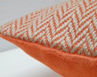 Orange Cotton and Suede Lumbar Pillow