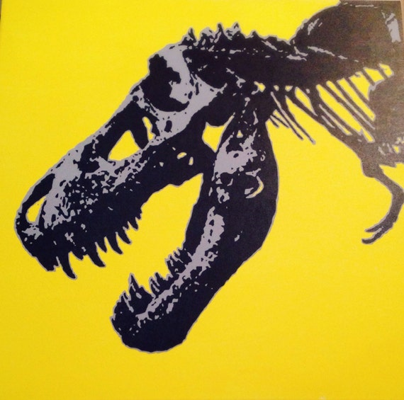 "T-Rex Dinosaur Custom Pop Art Painting 30""x30"" Canvas"