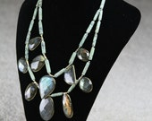 RESERVED - Large Labradorite Multi Pendant & Turquoise Beaded Statement Necklace