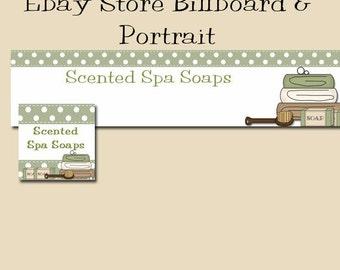 Ebay Billboard Banner and Portrait, Spa Green Soaps Bath & Beauty Products Ebay Store Billboard