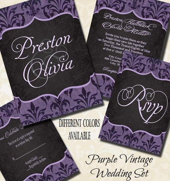Purple Vintage Wedding Invitation Purple Wedding Damask