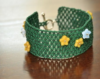 Spring Garden Trellis Bead Weave Cuff Bracelet Delicate Net Weave with Flower Details OOAK Handmede Nature Inspired Jewelry Gift for Her