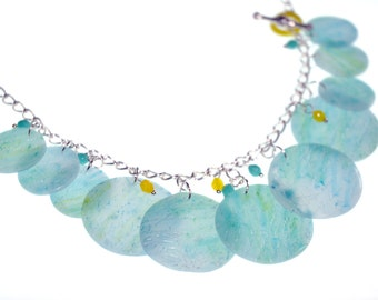 Turquoise Lemon Sherbet Polymer Clay Charm Necklace and Earrings Set Summer Jewelry Unique Gift