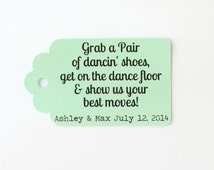 Dancing Shoes Tags, Custom Wedding Tags, Mint Gift Tags, Flip Flop Tags, Beach Wedding Tag, Wedding Favor Tags, Kraft Tags, Personalized Tag