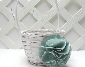 Mint Flower Girl Basket, Mint Green Wedding, Mint Green Wedding Basket, Ready to Ship