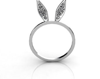 New Tiny 14K White Gold Glamour Bunny Ears ring with white diamonds