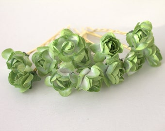 Bridal Hair Accessories, Green Floral Hair Clips, Wedding Hair Accessories, Set of 12