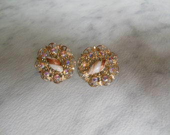 Vintage art glass and rhinestone screw back earrings