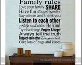 Family Decal, Custom Family Rules Vinyl Family Wall Decal, Family Decor, Family Rules Decal, Family Rules Decals, Family Rules Wall Decals