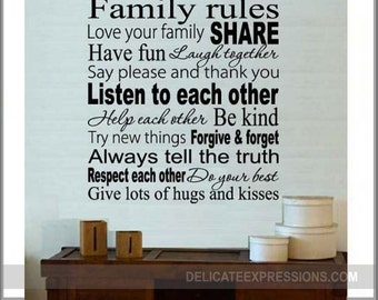 Family Rules Decal Etsy - Custom vinyl wall decals saying