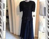 Vintage Black Party Dress Beaded Sequin Formal Cocktail Evening Gown 1980s