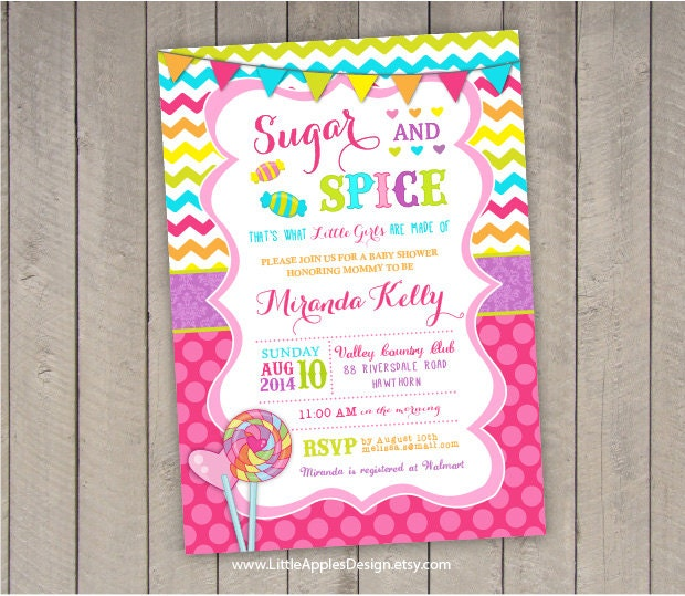 sugar and spice baby shower sugar and spice invitation