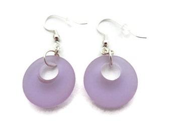 Lavender Sea Glass Earrings, Purple Beach Glass Earrings, Lavender Earrings, Purple Dangle Earrings, Pale Purple Earring, Violet Sea Glass