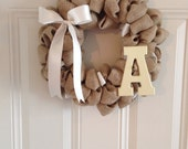 Shabby Chic Burlap Wreath with Initial