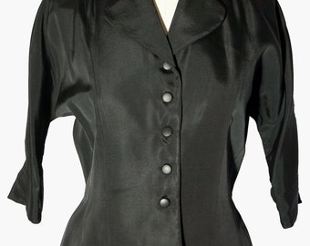 1950s Womens Black Faille Pinched Waist Rhinestone Jacket Sz 13 Vintage Retro