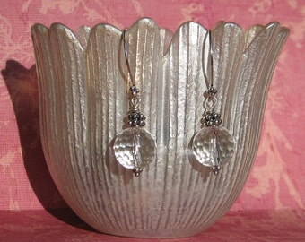 Clear Crystal Quartz Bali Sterling Silver Dangle Earring