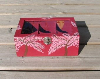 Hand painted Apple Blossom Tea / Jewelry Box