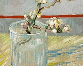 "Vincent van Gogh : ""Sprig of Flowering Almond in a Glass"" (1888) - Giclee Fine Art Print"