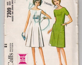 1960s McCall's 7309 Junior A-Line Dress - Size 11 Bust 31 1/2 - Vintage Sewing Pattern