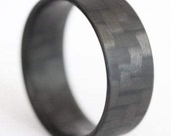 Twill Ultralight Carbon Fiber Ring, Minimalist Ring, Lightweight Ring