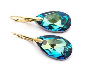 Bermuda Blue Earrings Swarovski Earrings Crystal Drop Earrings Simple Gold Earrings Turquoise Earrings Wedding Earrings Gold Jewelry