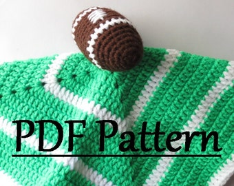 Crochet Football Security Blanket Pattern, Crochet Football Lovey Pattern, Crochet Baby Security Blanket Football Pattern, Crochet Pattern