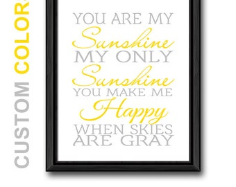 you are my sunshine wall art, yellow and gray sunshine print, nursery rhyme decor, sunshine nursery wall sayings, nursery song print