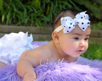 Baby girl headband, black and white Bow, infant girl, white headband, infant headband, baby headbands, 1st birthday, polka dot