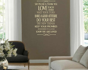 House rules wall decal - vinyl wall decal  - subway vinyl wall decal - wall vinyls decals art - entyway wall decal