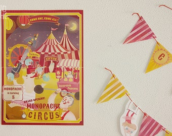 Welcome sign - Circus Birthday party - editable text - Instant Download - by Monopache