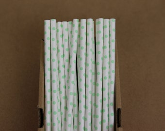 25 mint polka dots straws (PS2111)  - light mint green - party straws - with printable DIY flags