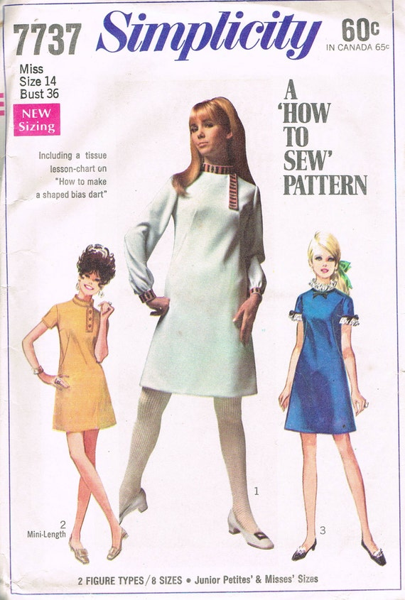 Size 14 60's A Line Dress With Mandarin Collar Simplicity Vintage Sewing Pattern 7737 Misses' Size 14 Bust 36 How To Sew Pattern