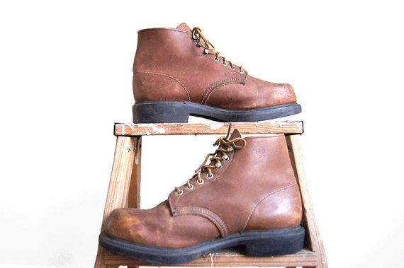SALE Red Wing Shoes Work Boots 952 Brown Leather Lace-Up