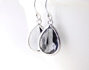 Charcoal Gray / Silver Teardrop Earrings - Charcoal Gray Teardrop Earrings - Bridesmaid Gift Jewelry - Gray and Silver Earrings -EB1