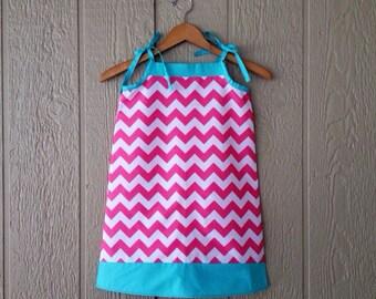 Ready To Ship - Aqua and Hot Pink Chevron A-line Sun Dress, Adjustable Spring Summer dress, Designer Fabric, Girls 4T or 6