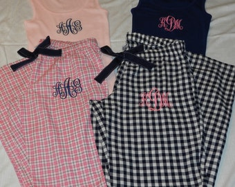 Monogrammed Pajama Bottoms and  Top Set