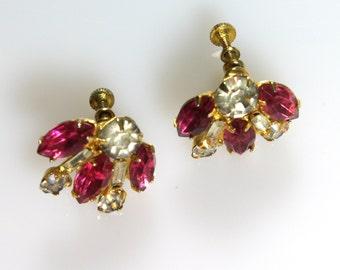 Hot Pink Rhinestone Earrings VaVa Boom VLV Pinup Midcentury Mad Men Hollywood Glam