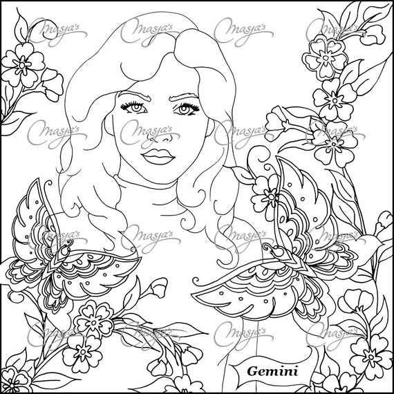 Gemini zodiac adult page coloring pages for Gemini coloring pages