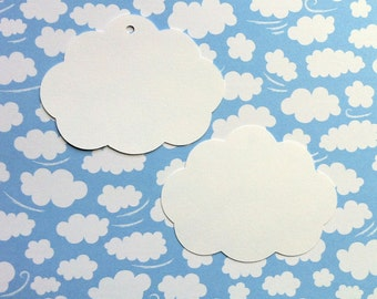Cloud gift tags or embellishments. Weddings, Baby showers, first birthday. Use with party favors, gift bags. Cloud shapes, die cuts.