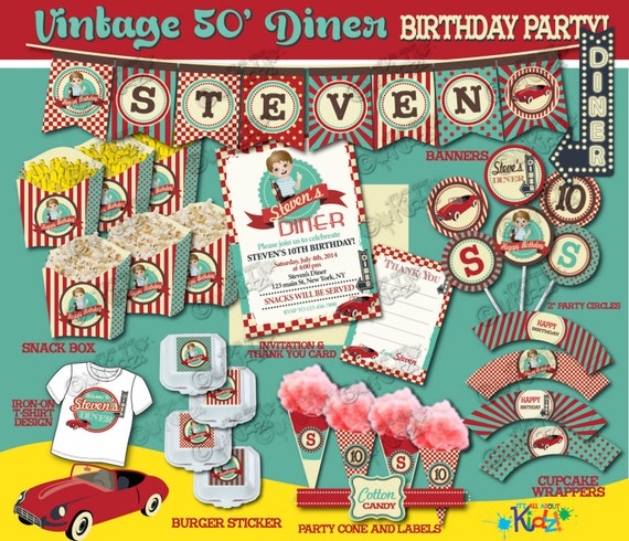 Items Similar To Vintage Birthday Party Package, Retro 50