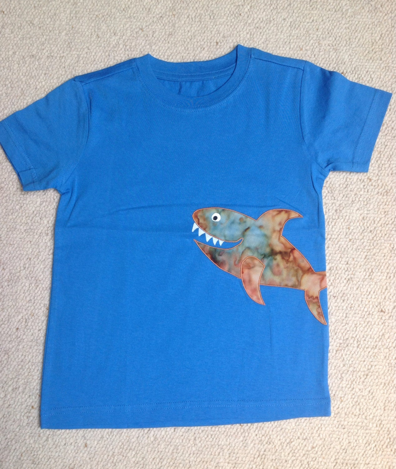 Boys blue applique shark t shirt 4 5 years for Applique shirts for sale
