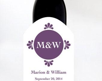 2 Custom Wine Labels Wedding Initials (set of 2)