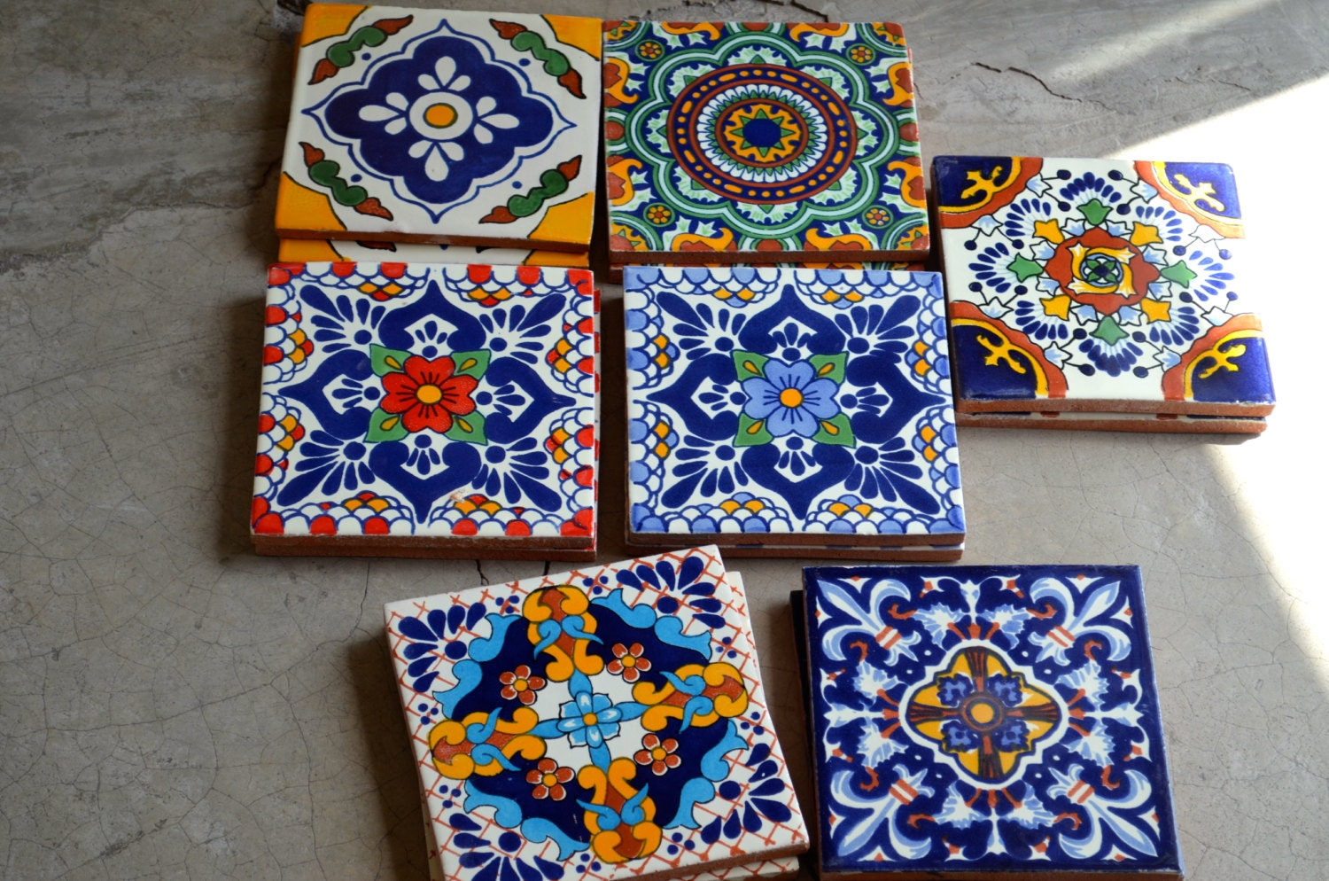 40 mexican talavera tiles hand made hand painted 6 x 6 from mexicantiles on etsy studio. Black Bedroom Furniture Sets. Home Design Ideas