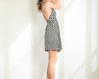 Casual dress Beach dress Halter dress Open back dress Polka dot dress