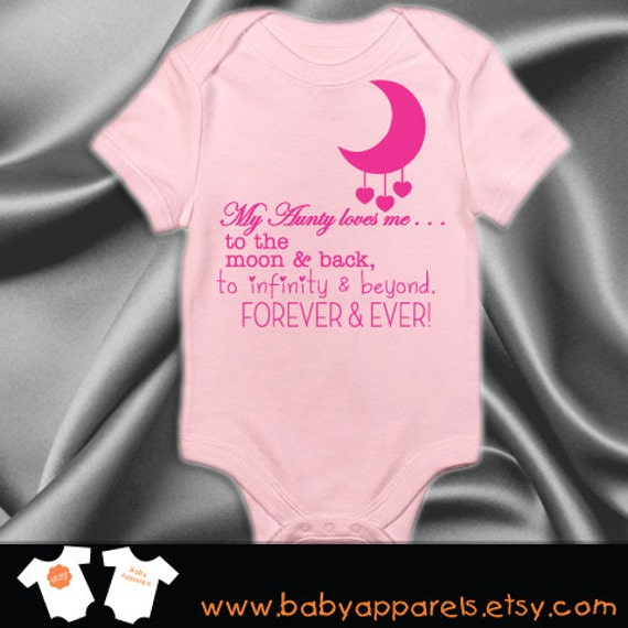 My Aunty loves me to the moon and back cute baby bodysuit