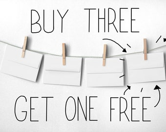 Buy Three Cards Get One Free! Illustrations and Lettering. 100% Percent Recycled Paper