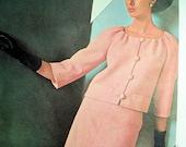 1960s VOGUE PARIS Original 1535 Lanvin 2 Pc Dress Pure Elegance Bust 38 Vintage Sewing Pattern UNCUT + Label